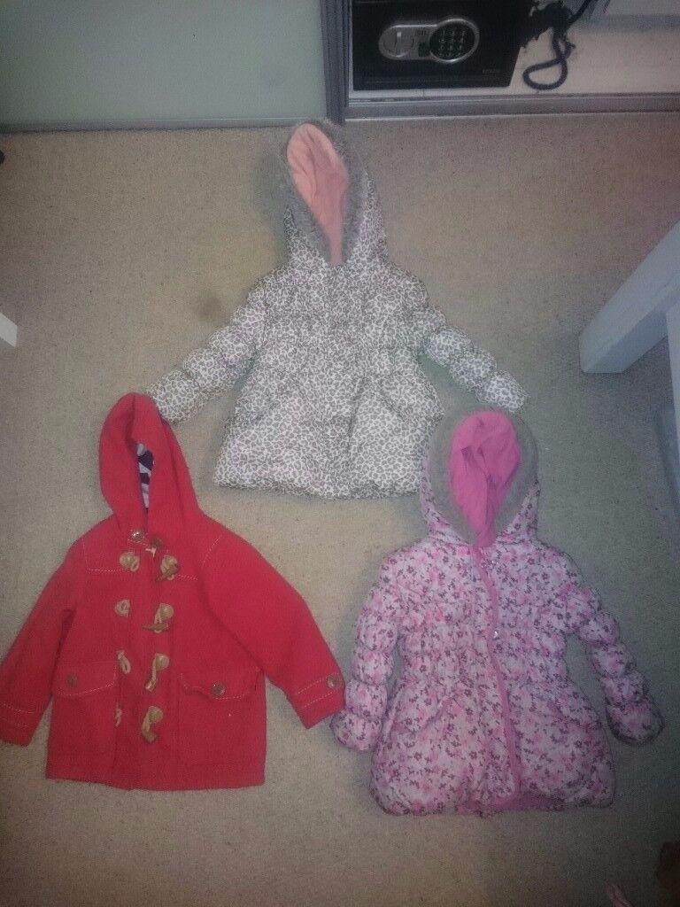 3 x girls autumn/winter coats age 2-3