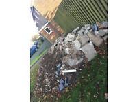 Garden muck,stones and bricks