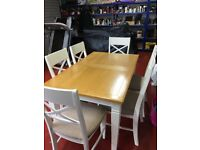 oak style country kitchen table and 6 chairs