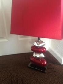 Superb red/ silver table lamp and shade