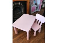 Children's Pink Plastic Table and Chair Immaculate condition