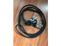 """Neutrik 6.35"""" 1/4"""" Jack 4 Meter loom - 8 Channel (16 Plugs)"""
