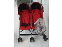 MOTHERCARE MPV RED DOUBLE TWIN BUGGY BUGGIE PUSHCHAIR NOTA MACLAREN STROLLER