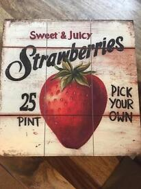 Strawberry Wooden Wall Art
