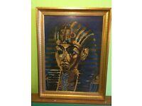 Framed tapestry of Tutankhamun