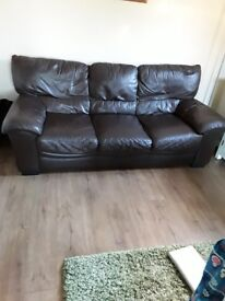 2 Brown Leather sofas 2 seater and 3 seater