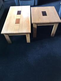 matching wooden tables