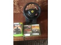 Xbox360 11 games controler and Ferrari wheel