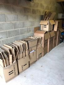 House packing boxes x 60 approx plus garment boxes x 5