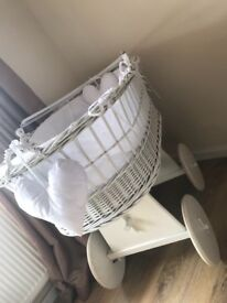 Large White Wicker Moses Basket on Wheels