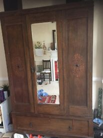 Vintage Wardrobe, With Mirror and Bottom Drawer