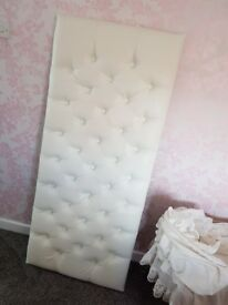 Cream/ white faux leather kingsize headboard