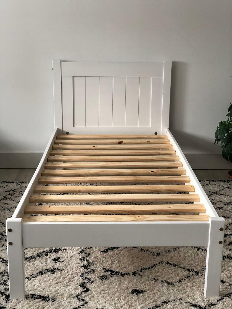 Solid Wood Single Bed Frame In White 2 For Sale 163 50 Per