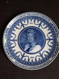 Wedgewood Golden Jubilee Plate 1952-2002 Her Majesty Queen Elizabeth II