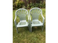 2 garden chairs, green plastic, stacking