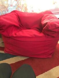 Child's children's bean bag chair heavy red cotton