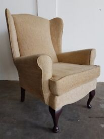 WINGBACK FABRIC ARMCHAIR / FIRESIDE HIGH BACK WING BACK CHAIR QUEEN ANNE LEGS DELIVERY AVAILABLE