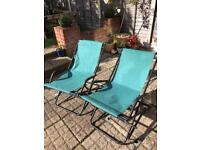 2 x folding garden relaxer chairs