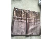 Dunelm Brown Suede Curtains
