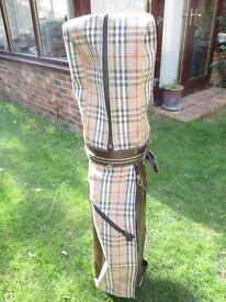 AUTH BURBERRYS GOLF BAG MADE IN ENGLAND VINTAGE BEIGE NOVA CHECK GOLF BAG