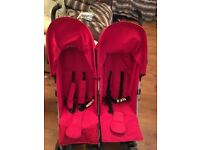 Red double stroller