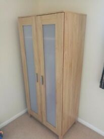 beech / oak wardrobe with adjustable shelf and hanging rail