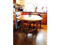 Solid Pine foldable table in gold brown colour with two plastic chairs