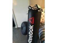 Reebok boxing bag and gloves