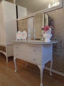 Shabby Chic white dressing table with glass top and mirror