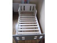 John Lewis 'Boris' toddler bed, white, with mattress. Good condition and quality.