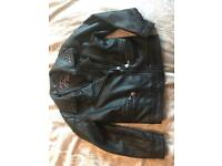 Girls black leather look jacket age 6/7 years