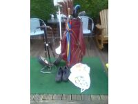 Golf bag with full set of clubs,trolley golf shoes,9, and 100,s of balls