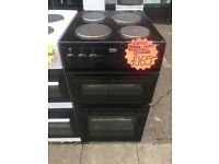 BEKO 50CM SOLID TOP ELECTRIC COOKER IN BLACK