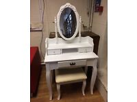 White Antique Style Dressing Table & Stool - £120 Including Free Local Delivery