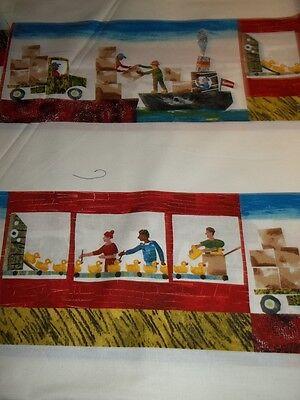 10 Little Rubber Ducks - 10 Little Rubber Ducks Quack Eric Carle Border Stripe 5695 Cotton Fabric 1/2YARD