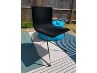 BERNHARD 4x chairs black textile foam dining chrome modern Scandic minimalist