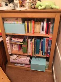 Two matching pine bookshelves - like new