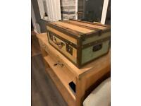 Small travel trunk antique vintage