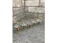 Vintage gold rim shot glasses x 5