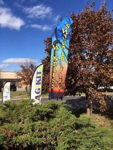 Advertising Feather Flag $109.95 Complete Kit - 15ft hardware | 12ft Print & Ground Spike| Inkdoodle.ca