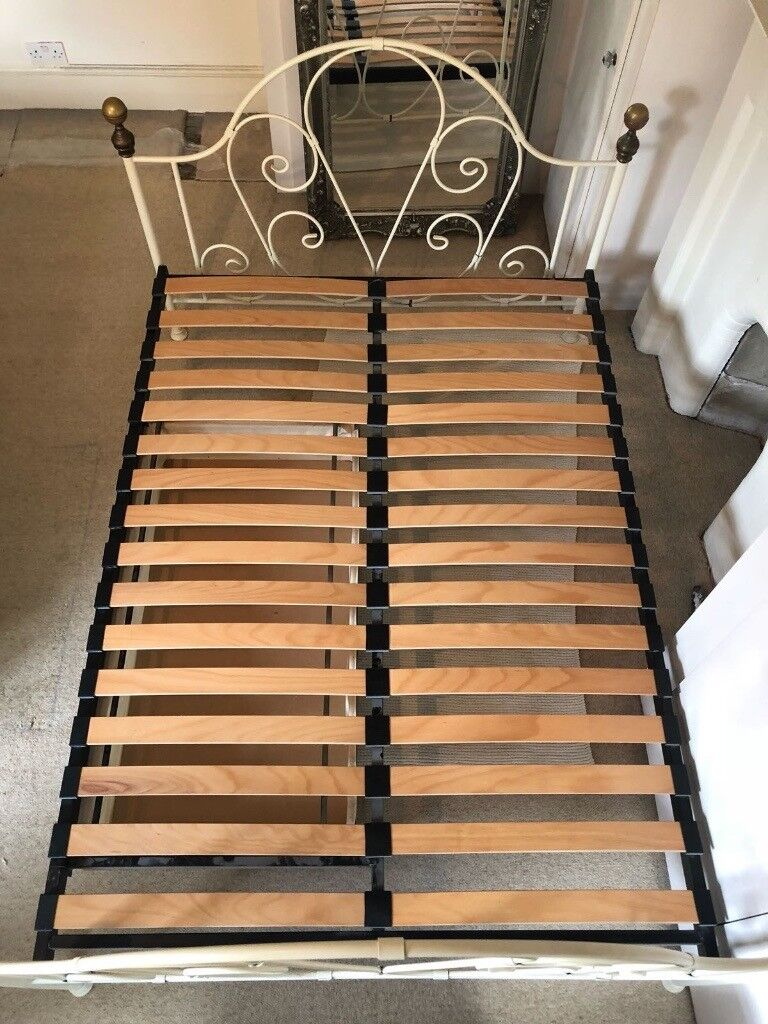 Excellent Condition Double Bed Frame 4ft 6inch With Under Storage French Style Ivory Colour