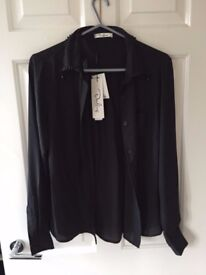 Darling London Natasha Black Blouse with Beaded Detailing Size 12