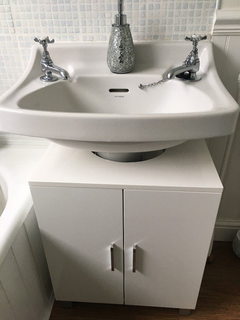 Under sink storage unit cabinet high gloss white - Under sink bathroom storage cabinet ...