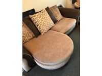 DFS Brown 3 seater settee and matching cuddle chair