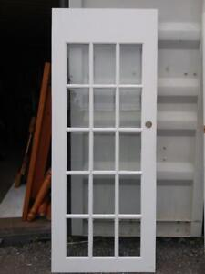 """Oakville  1 French Door White 80.5x32"""" Bevelled 15 Glass Panels Solid Wood"""
