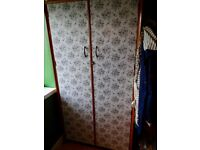 Decoupage Wood Double Wardrobe with shelves