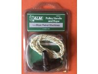 Pulley handle and rope for lawnmower