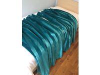 Turquoise velvet effect curtains