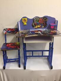 Kids Children Home Study SPIDERMAN & FROZEN Table Storage Cartoon Desk & Stool Set