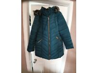 LADIES COAT AS NEW GREEN WITH BLACK GREY FUR TRIM HOOD AND BELT INCLUDED